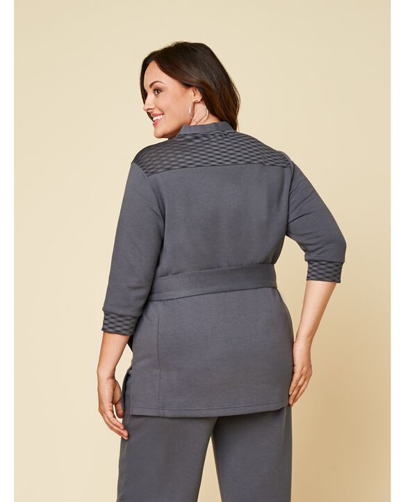 Women's Seek No Further Plus Size ¾ Sleeve Stretch Tie Jacket Charcoal