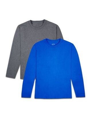 Boys' Super Soft Solid Multi-Color Long Sleeve T-Shirts, 2 Pack