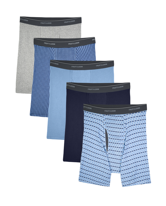 Men's COOLZONE Print/Solid Boxer Briefs, 5 Pack