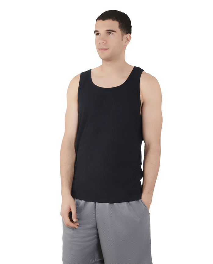 Men's Dual Defense® UPF Tank, 1 Pack, Extended Sizes Black