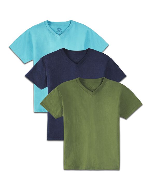 Boys' Super Soft Solid Multi-Color Short Sleeve V-Neck T-Shirts, 3 Pack Bluegrass Asst.