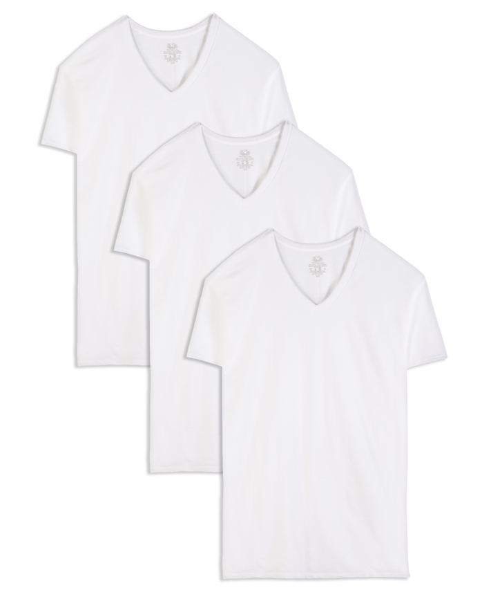 Tall Men's White V- Neck T-Shirts, 3 Pack