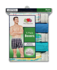 Men's 5 Pack Exposed Waistband Woven Boxer Assorted