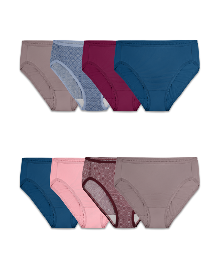 Women's Assorted Microfiber Hi Cut Panty, 8 Pack ASSORTED