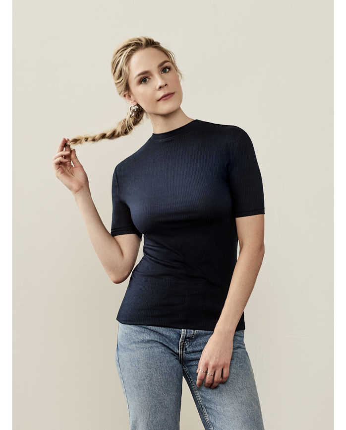 Women's Seek No Further Mock Neck Rib T-Shirt