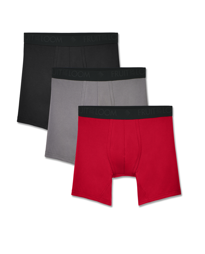 Men's Breathable Lightweight Micro-Mesh Boxer Briefs, 3 Pack