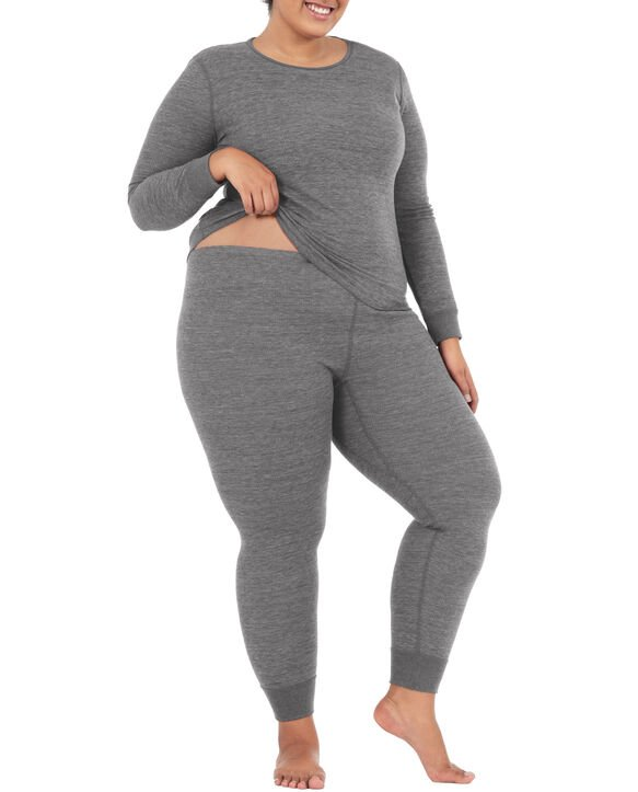 Women's Plus Size Thermal Bottom, 2 Pack Smoke Heather/ Smoke Heather