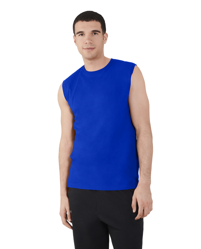 Big Men's Dual Defense UPF Sleeveless Muscle Shirt Cobalt