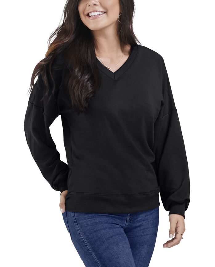 Women's Seek No Further Long Sleeve V-Neck Fleece Blouse Brilliant Black