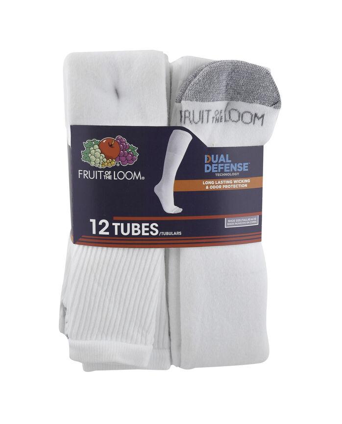 Men's Dual Defense Tube Socks, 12 Pack, Size 6-12 WHITE