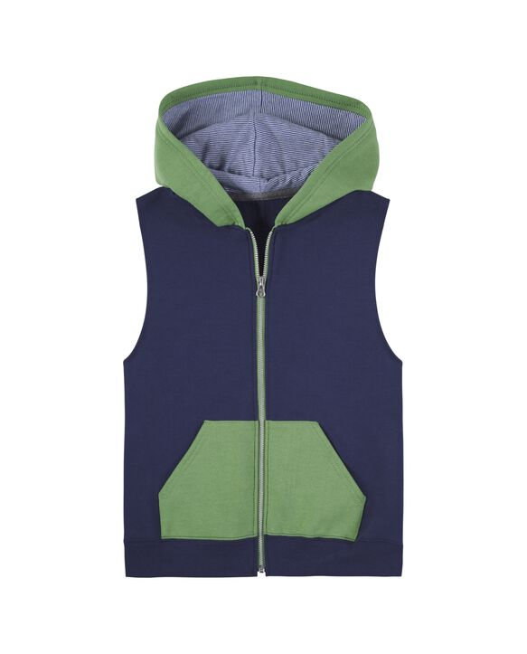 Boys' Fleece Full Zip Sleeveless Vest, 1 Pack Green/Navy