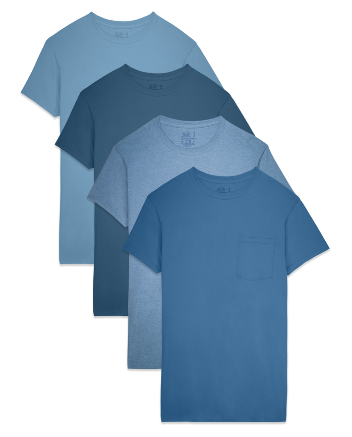 Big Men's Tonal Blue Pocket Tee, 4-pack