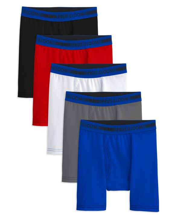 Boys' Cotton Stretch Boxer Briefs, 5 Pack ASSORTED