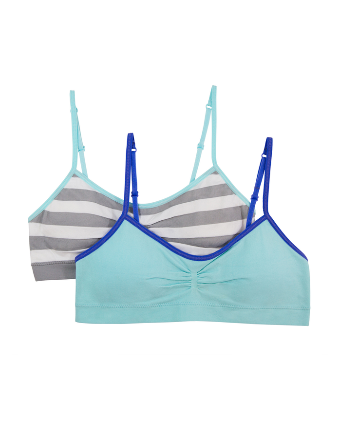 Girls' Seamless Everyday Bra with Modesty Pads, 2 Pack MEDIUM STRIPE/SOFT BLUE