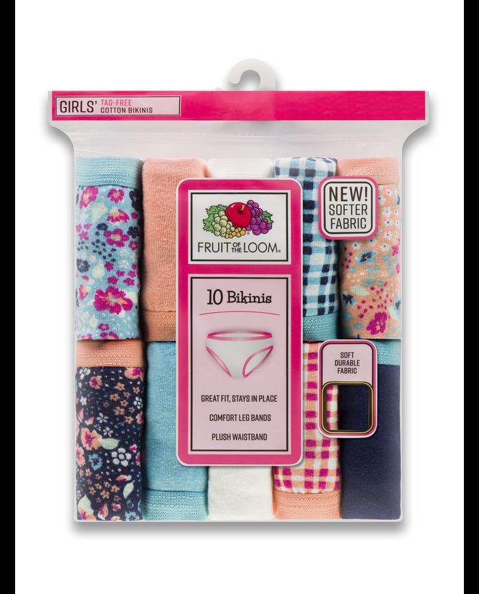 Girls' Assorted Cotton Bikini, 10 Pack