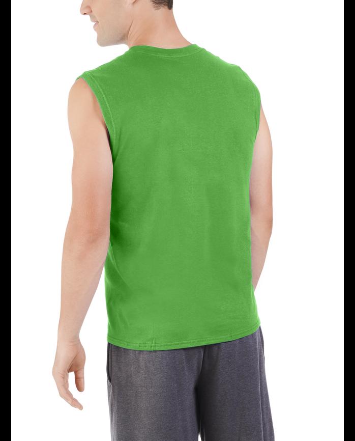 Big Men's Dual Defense UPF Sleeveless Muscle Shirt Artifical Turf