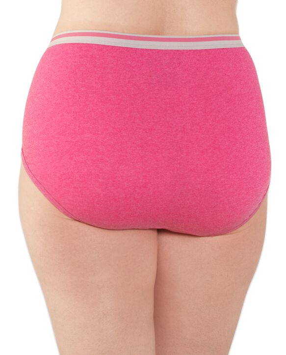 Fit for Me Women's Plus Heather Cotton Hi-Cut Panty, 10 Pack ASSORTED