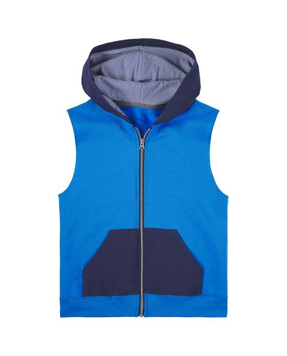 Boys' Fleece Full Zip Sleeveless Vest, 1 Pack Pacific Blue/Navy