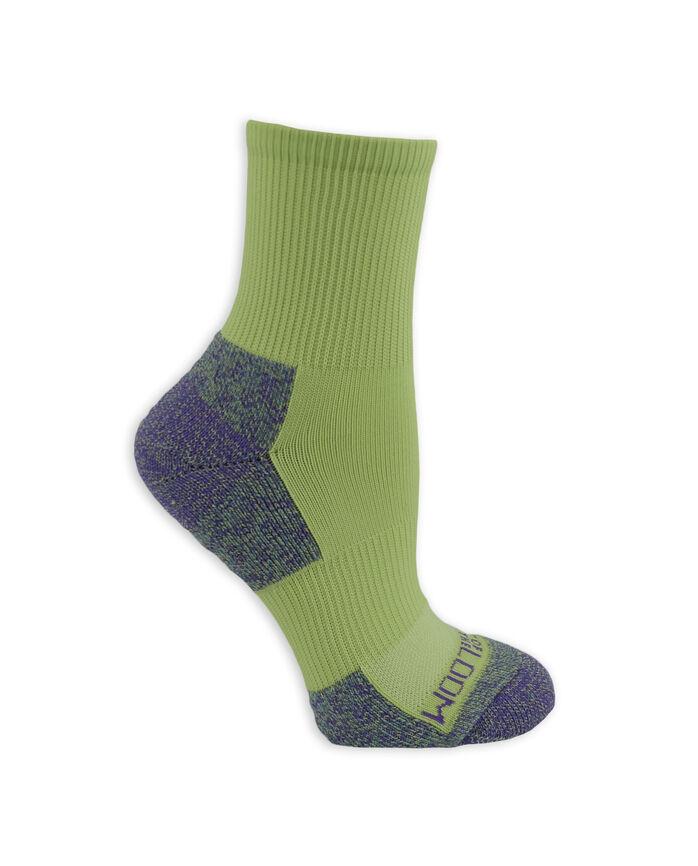 Women's On Her Feet Zoned Cushion Boot Crew Socks, 3 Pack GREEN, BLUE, PURPLE
