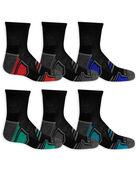 Boys' Active Cushioned Ankle Socks, 6 Pack CAVIAR/HIGH RISK RED, CAVIAR/B50, CAVIAR/LAPIS, CAVIAR/VIVID BLUE, CAVIAR/B50, CAVIAR/DAZZLIN BLUE