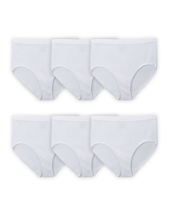 Women's Plus Fit for Me White Cotton Brief Panty, 6 Pack