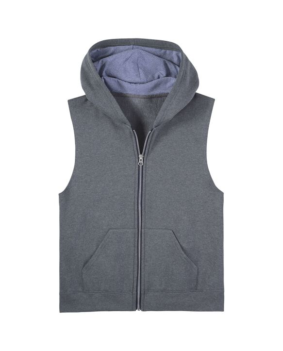 Boys' Fleece Full Zip Sleeveless Vest, 1 Pack Charcoal Heather