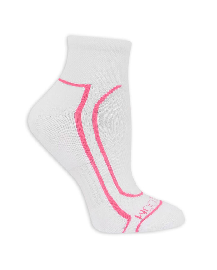Women's CoolZone Cushioned Cotton Ankle Socks, 6 Pack WHITE/PINK, WHITE/PURPLE, WHITE/GREY, WHITE/BLUE, WHITE/PINK, WHITE/LAVENDAR