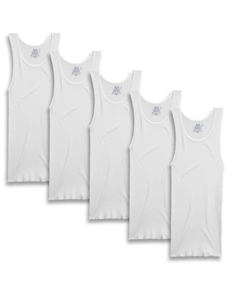 Men's White Cotton A-Shirts, 5 Pack, Extended Sizes