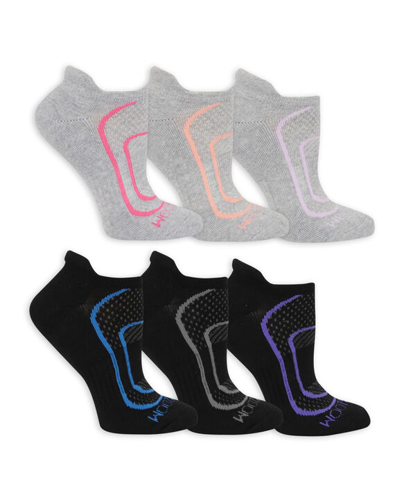 Women's CoolZone Cushioned Cotton No Show Tab Socks, 6 Pack GREY/PINK, GREY/SALMON, GREY/LAVENDAR, BLACK/GREY, BLACK/BLUE, BLACK/PURPLE