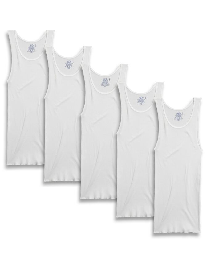 Men's Dual Defense® White A-Shirts, 5 Pack, Extended Sizes