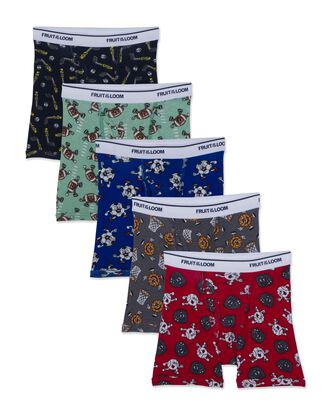 Toddler Boys' Print Solid Boxer Briefs, 5 Pack