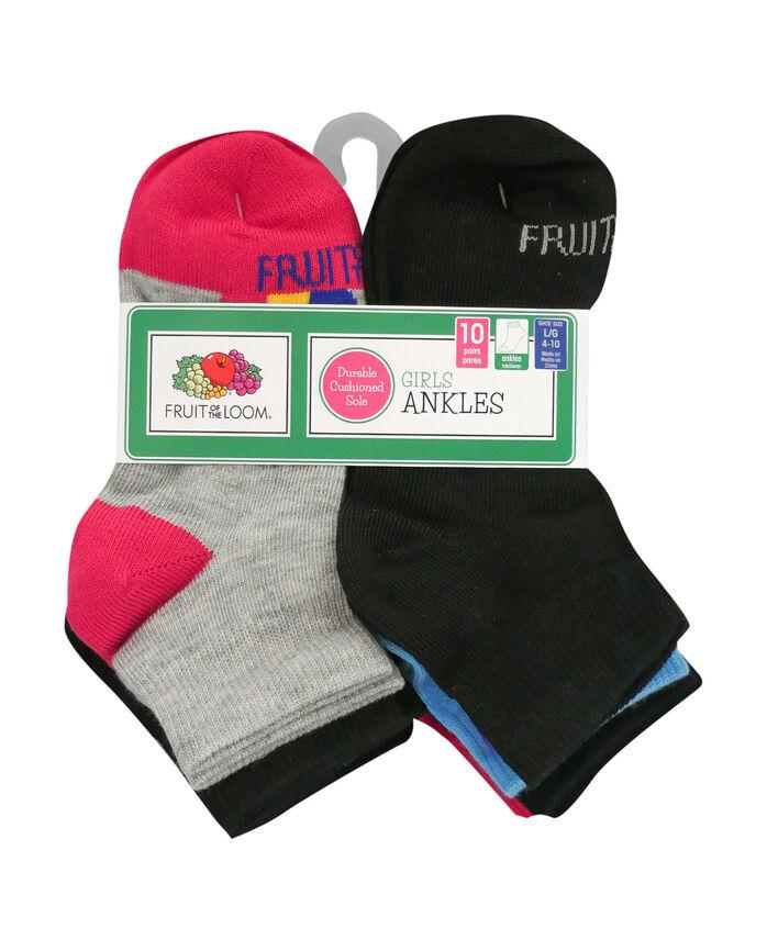 Girls' Lightweight Ankle Socks, 10 Pack
