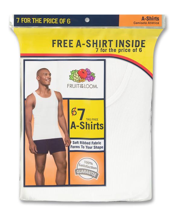 Men's White Tank A-Shirts, 7 Pack
