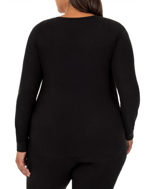 Women's Plus Size Thermal Crew & V-Neck Top, 2 Pack BLACK/BLACK