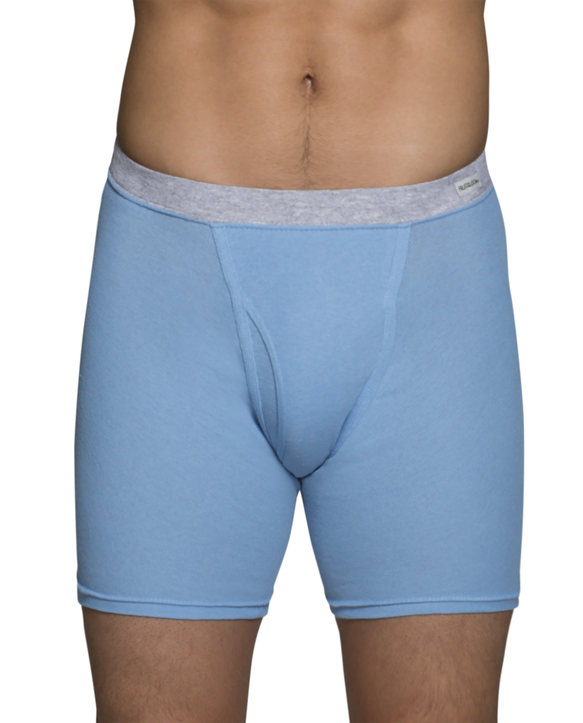 Men's CoolZone Fly Covered Waistband Boxer Briefs, Extended Sizes, 4 Pack Assorted Color