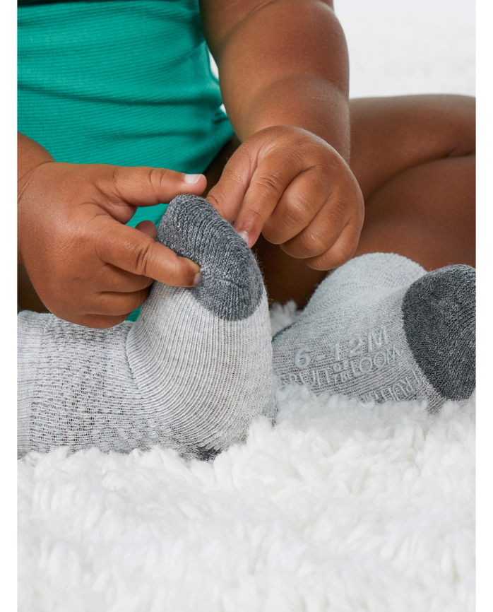 Baby Sock Gift Set, Breathable Crew Length Socks, 12 Pack Grey Multi