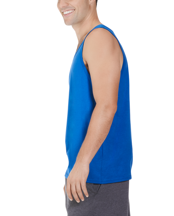 Big Men's Dual Defense UPF Sleeveless Tank Top Blue Shadow