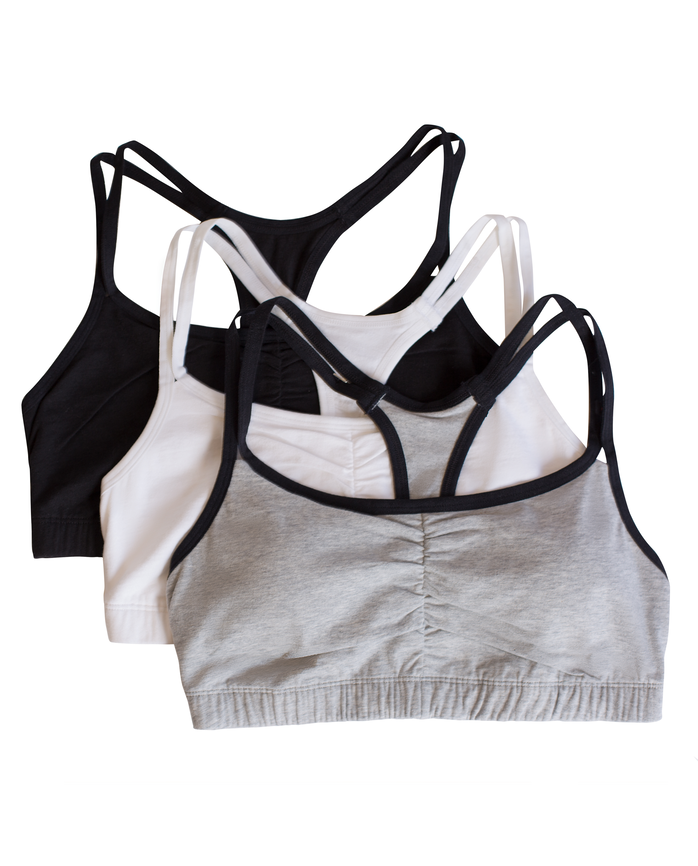 Women's Strappy Sports Bra, 3 Pack GREY WITH BLACK/WHITE/BLACK