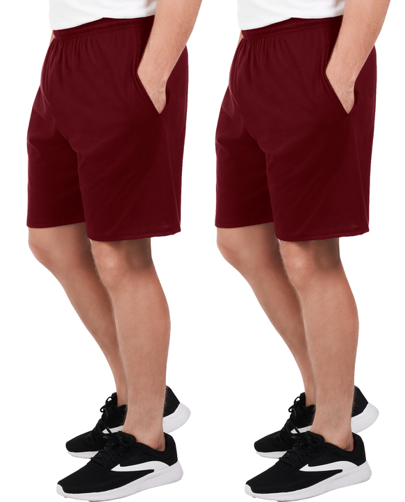 Big Men's Dual Defense UPF Jersey Shorts, 2 Pack Flute Wine