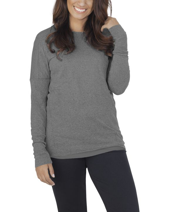 Women's Essentials Long Sleeve Scoop Neck T-Shirt, 1 Pack Oxford