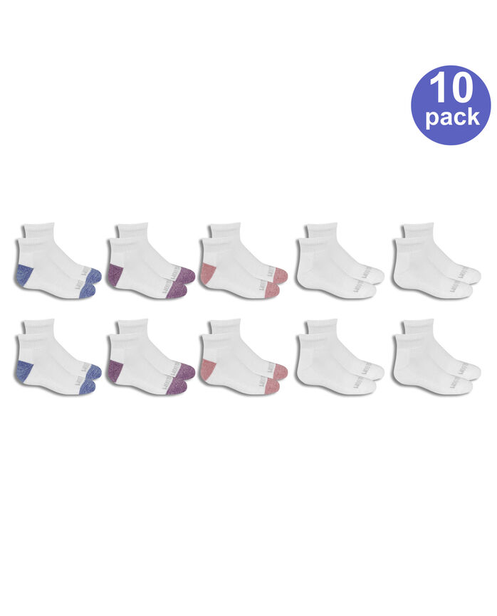 Girls' Cushioned Ankle Socks, 10 Pack WHITE/LIGHT BLUE, WHITE, WHITE/PINK, WHITE/PURPLE