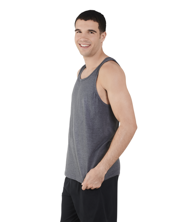 Big Men's Dual Defense UPF Sleeveless Tank Top Charcoal Heather