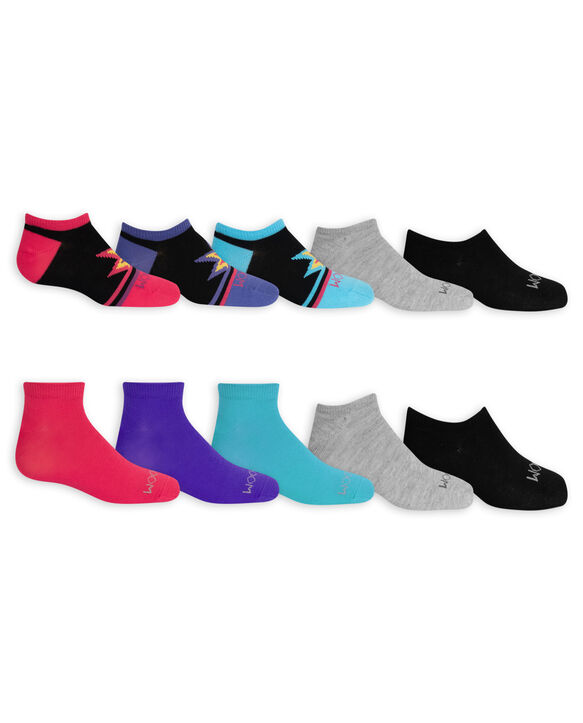 Girls' Lightweight No Show Socks, 10 Pack BLACK/PINK, BLACK/BLUE, BLACK/PURPLE, PURPLE, GREY, BLUE, PINK