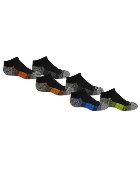 Boys' Everyday Active No Show Socks Pair, 6 Pack, Size 3-9 BLACK/RED, BLACK/GREY, BLACK/ORANGE, BLACK/BLUE, B
