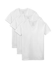 Men's Short Sleeve White V-Neck T-Shirts, 3 Pack, Extended Sizes White