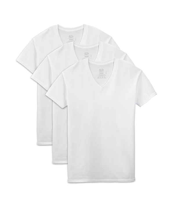 Men's Short Sleeve White V-Neck T-Shirts, 3 Pack White