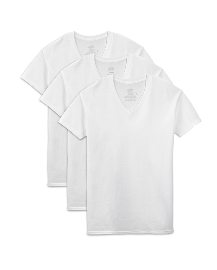 Men's Short Sleeve White V-Neck T-Shirts, 3 Pack, Extended Sizes