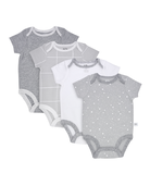 Baby Short Sleeve Breathable Bodysuits, 4 Pack Grey