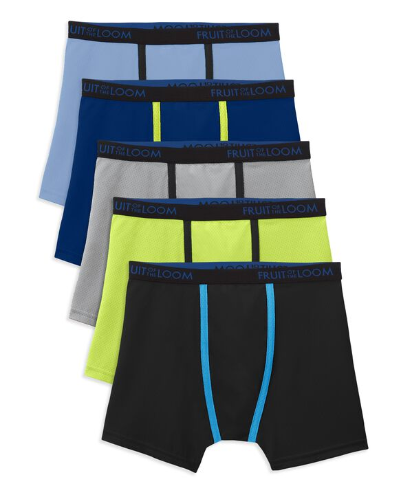 Boys' Breathable Micro-Mesh Boxer Brief, 5 Pack ASSORTED