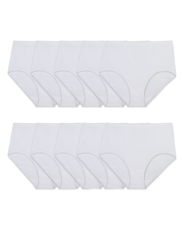 Women's White Cotton Brief, 10 Pack White